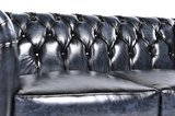 Chesterfield Sofa Original Leder | 2-Sitzer | Antik blau | 12 Jahre Garantie_