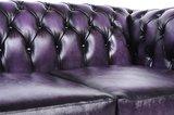 Chesterfield Sofa Original Leder   6-Sitzer   Antik violett   12 Jahre Garantie_