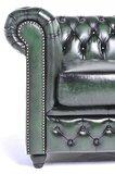 Chesterfield Sessel Original Leder | Antik Grün | 12 Jahre Garantie_