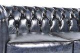 Chesterfield Sofa Original Leder   6-Sitzer   Antik blau   12 Jahre Garantie_