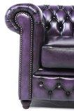 Chesterfield Sofa Original Leder | 3-Sitzer | Antik violett | 12 Jahre Garantie_