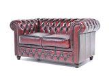 Chesterfield Sofa Original Leder |  1 + 2  Sitzer | Antik Rot |12 Jahre Garantie_