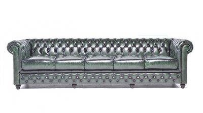 Chesterfield Sofa Original Leder | 5-Sitzer | Antik grün | 12 Jahre Garantie