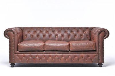 Chesterfield Sofa Vintage Leder | 3-Sitzer | Braun | 12 Jahre Garantie
