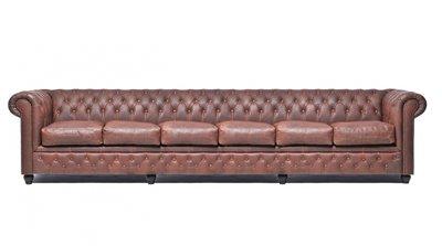 Chesterfield Sofa Vintage Leder | 6-Sitzer| Braun | 12 Jahre Garantie