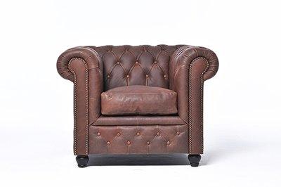 Chesterfield Sessel Vintage Leder  | Braun | 12 Jahre Garantie