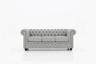 Chesterfield Sofa Original Stoff | 3-Sitzer | Pitch Helllgrau | 12 Jahre Garantie