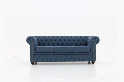 Chesterfield Sofa Original Stoff | 3-Sitzer  | Pitch Blau  | 12 Jahre Garantie