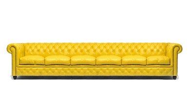 Chesterfield Sofa Original Leder| 6-Sitzer| Gelb | 12 Jahre Garantie