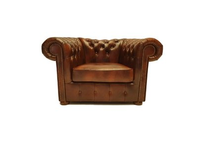 Chesterfield Sessel Class Leder | Sessel | Cloudy Braun Light | 5 Jahre Garantie