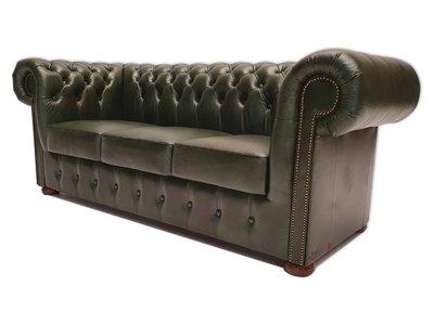 Chesterfield Sofa Class Leder |3-Sitzer | Cloudy Grün | 5 Jahre Garantie