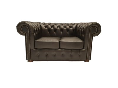 Chesterfield Sofa Class Leder |2-Sitzer | Shiny Schwarz | 5 Jahre Garantie