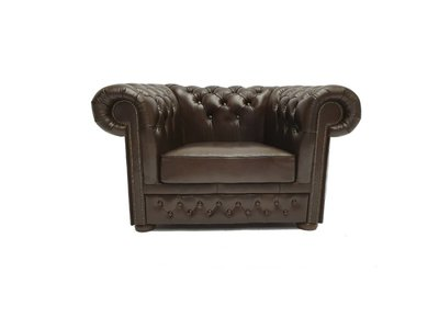 Chesterfield Sessel First Class Leder | Sessel | Cloudy Braun Dark| 5 Jahre Garantie
