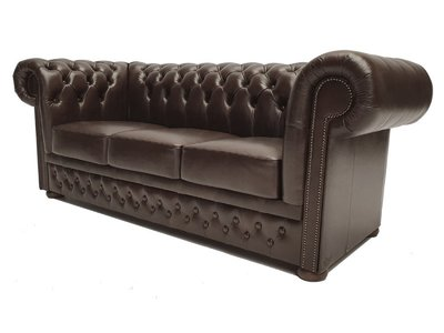 Chesterfield Sofa First Class Leder |3-Sitzer | Cloudy Dark Braun| 5 Jahre Garantie