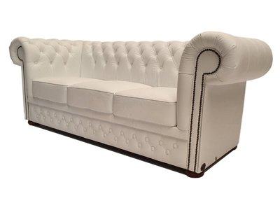 Chesterfield Sofa First Class Leder |3-Sitzer | Cloudy Weiß | 5 Jahre Garantie