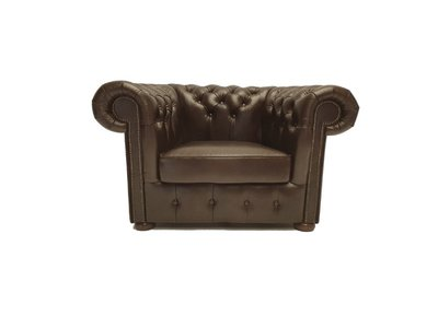 Chesterfield Sessel Class Leder | Sessel | Cloudy Braun Dark| 5 Jahre Garantie