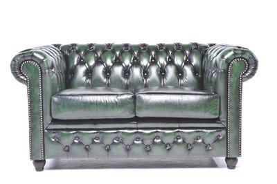 Chesterfield Sofa Original Leder   2-Sitzer   Antik grün   12 Jahre Garantie