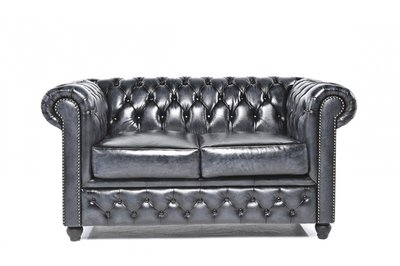 Chesterfield Sofa Original Leder   2-Sitzer   Antik blau   12 Jahre Garantie