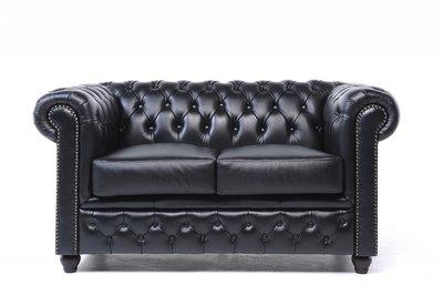 Chesterfield Sofa Original Leder   2-Sitzer   Schwarz   12 Jahre Garantie