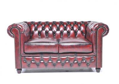 Chesterfield Sofa Original Leder   2-Sitzer   Antik rot   12 Jahre Garantie