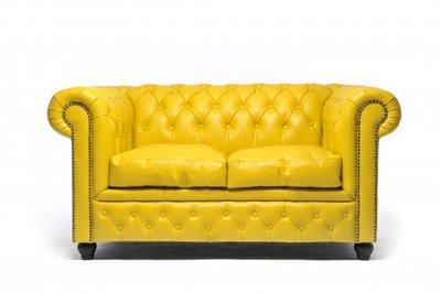 Chesterfield Sofa Original Leder   2-Sitzer   Gelb   12 Jahre Garantie