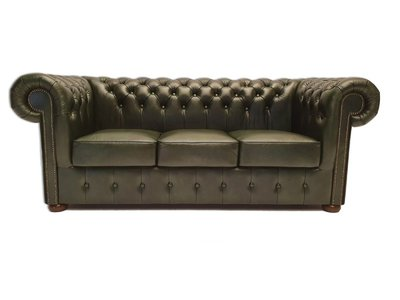 Chesterfield Sofa Class Leder |3-Sitzer | Cloudy Grün | 12 Jahre Garantie