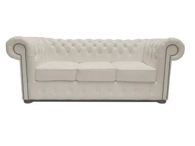 Chesterfield Sofa Class Leder |3-Sitzer | Cloudy Weiß | 12 Jahre Garantie