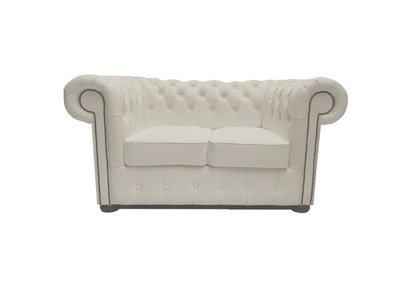Chesterfield Sofa Class Leder  2-Sitzer   Weiß   12 Jahre Garantie