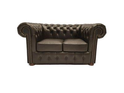Chesterfield Sofa Class Leder  2-Sitzer   Shiny Schwarz   12 Jahre Garantie