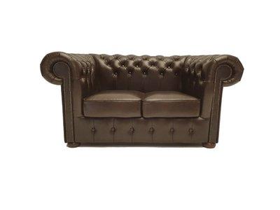 Chesterfield Sofa Class Leder  2-Sitzer   Cloudy Braun Dark   12 Jahre Garantie