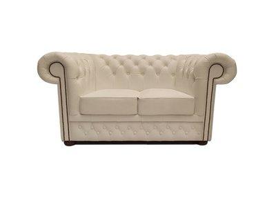 Chesterfield Sofa First Class Leder   2-Sitzer   Weiß   12 Jahre Garantie