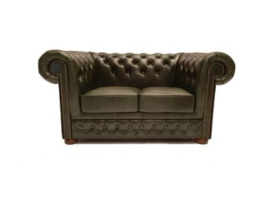 Chesterfield Sofa First Class Leder  2-Sitzer   Cloudy Grün   12 Jahre Garantie