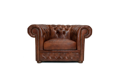 Chesterfield Sessel First class Leder | Cloudy Braun Old | 12 Jahre Garantie