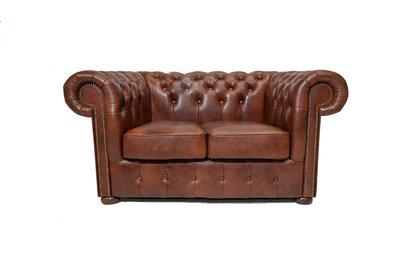 Chesterfield Sofa Class Leder  2-Sitzer    Cloudy Braun Old   12 Jahre Garantie