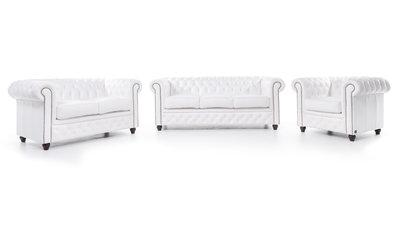 Chesterfield Sofa Original Leder |  1 + 2 + 3 Sitzer | Weiß |12 Jahre Garantie