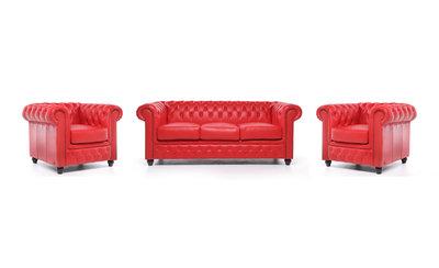 Chesterfield Sofa Original Leder |  1+ 1 + 3  Sitzer | Rot |12 Jahre Garantie