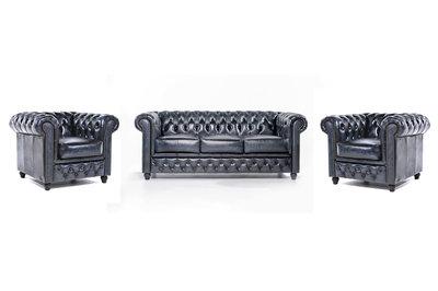 Chesterfield Sofa Original Leder |  1+ 1 + 3  Sitzer | Antik Blau |12 Jahre Garantie
