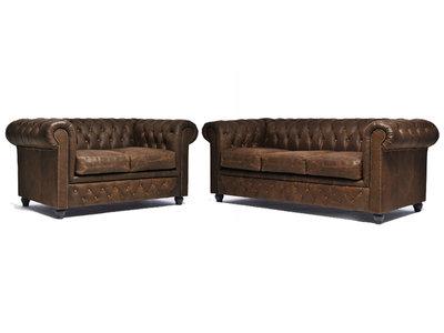 Chesterfield Sofa Vintage Leder C0869 | 2 + 3 Sitzer | 12 Jahre Garantie