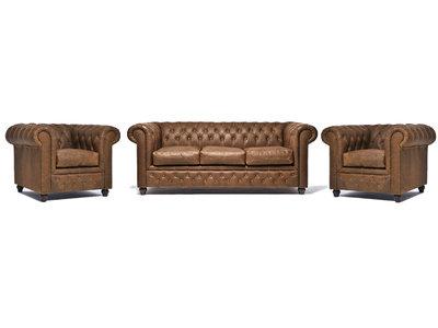 Chesterfield Sofa Vintage Leder Alabama C1059 | 1 + 1 + 3 Sitzer | 12 Jahre Garantie