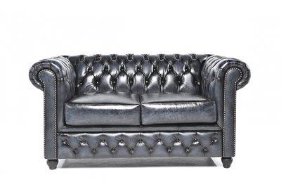 Chesterfield Sofa Original Leder | 2-Sitzer | Antik blau | 12 Jahre Garantie