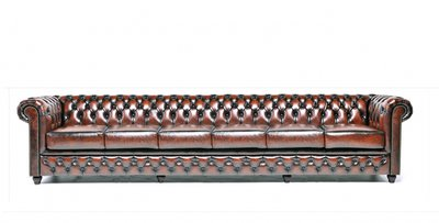 Chesterfield Sofa Original Leder   6- Sitzer  Antik braun   12 Jahre Garantie