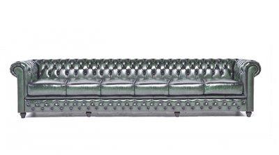 Chesterfield Sofa Original Leder | 6-Sitzer | Antik grün | 12 Jahre Garantie
