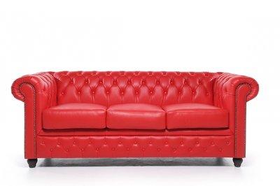Chesterfield Sofa Original Leder   3-Sitzer   Rot   12 Jahre Garantie