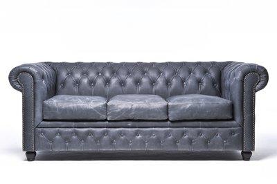Chesterfield Sofa Vintage Leder | 3-Sitzer | Schwarz | 12 Jahre Garantie