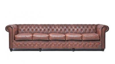 Chesterfield Sofa Vintage Leder | 5-Sitzer  | Braun | 12 Jahre Garantie
