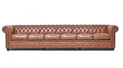 Chesterfield Sofa Vintage Leder | 6-Sitzer | Mokka | 12 Jahre Garantie