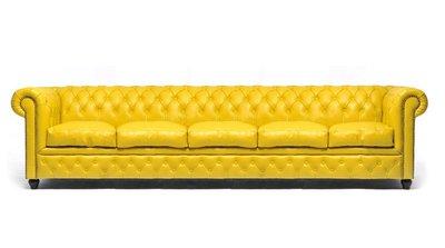 Chesterfield Sofa Original Leder   5-Sitzer   Gelb   12 Jahre Garantie