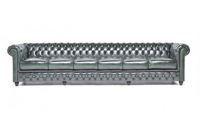 Chesterfield Sofa Original Leder   6-Sitzer   Antik grün   12 Jahre Garantie