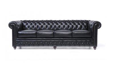Chesterfield Sofa Original Leder | 4-Sitzer | Schwarz | 12 Jahre Garantie