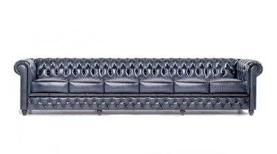 Chesterfield Sofa Original Leder   6-Sitzer   Antik blau   12 Jahre Garantie
